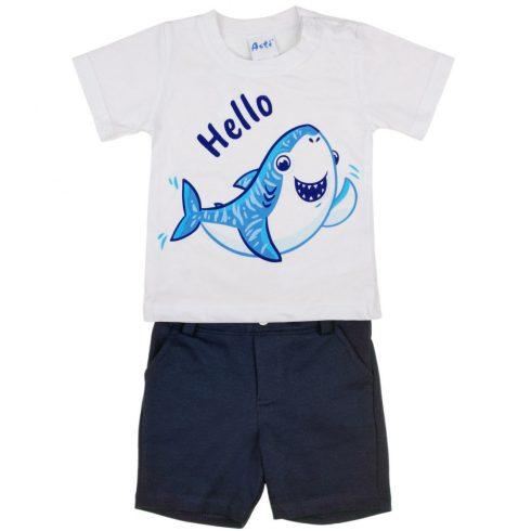 Cápás rövidnadrágos 2 részes kisfiú szett